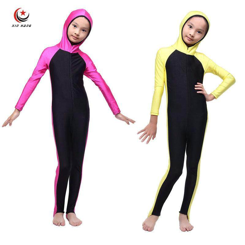Girls Full Cover Muslim Swimwears Islamic Children One-piece Swimsuits Arab Islam Beach Wear Long Swimming Diving Suits Burkinis - intl