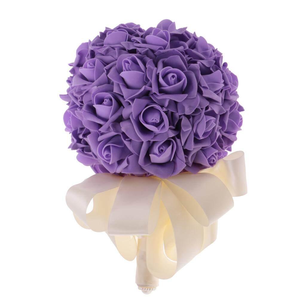 GuangquanStrade Artificial Roses Flower Wedding Bride Bridesmaid Bouquet Satin Handle Purple