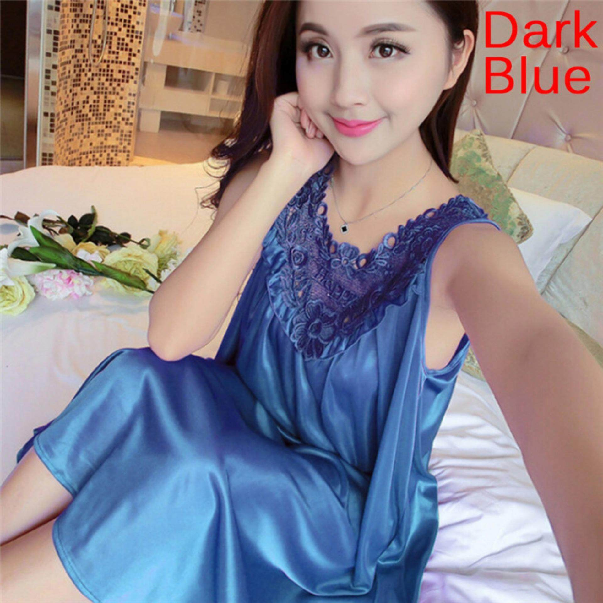 Women Silk Lace Nightgown Silk Sleepwear Solid Color Large Swing Home  Clothing Dark Blue e4f865020
