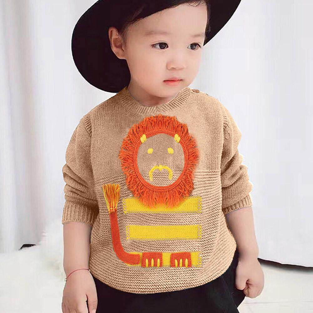 b7b61bb10 Tideshop Newborn Infant Baby Boys Girls Long Sleeve Cartoon Lion Knitted  Tops Clothes