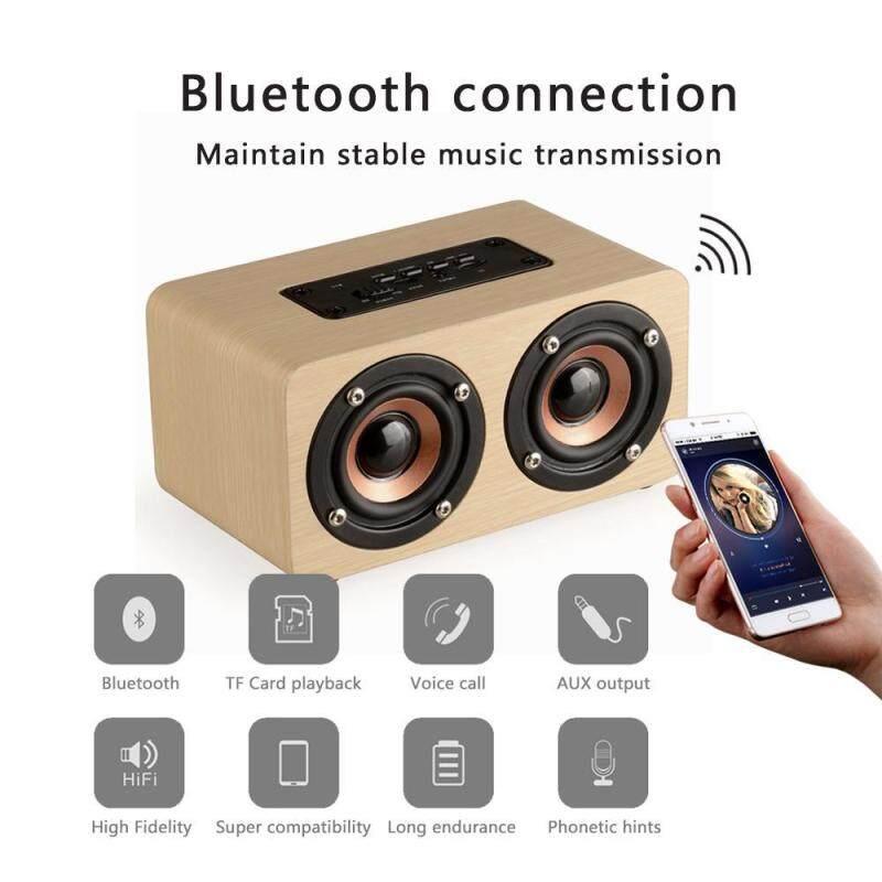 niceEshop Retro Bluetooth Speaker Wooden HiFi Wireless Bluetooth Speaker Touch Desktop Speaker Support TF Card AUX Handsfree For Iphone Sunsung Xiaomi Singapore