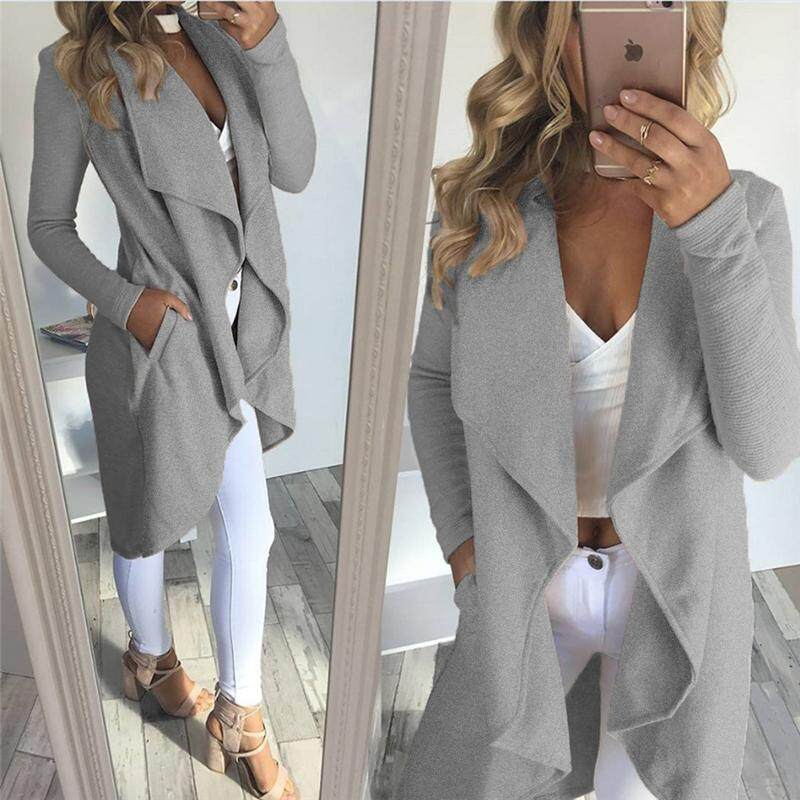 29ff670bb495 Fashion women big lapel irregular long-sleeved cardigan jackets slim long  soft cotton casual party
