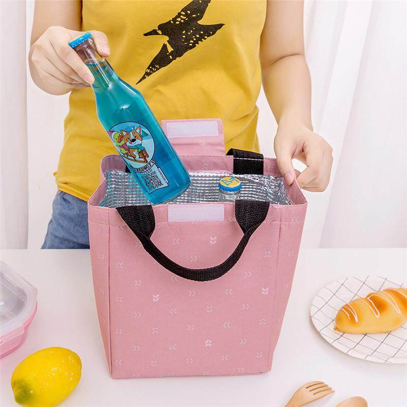 New Portable Lunch Bag Small Leaf Insulation Package Family Picnic Cold Ice Cooler Canvas Hand Bag