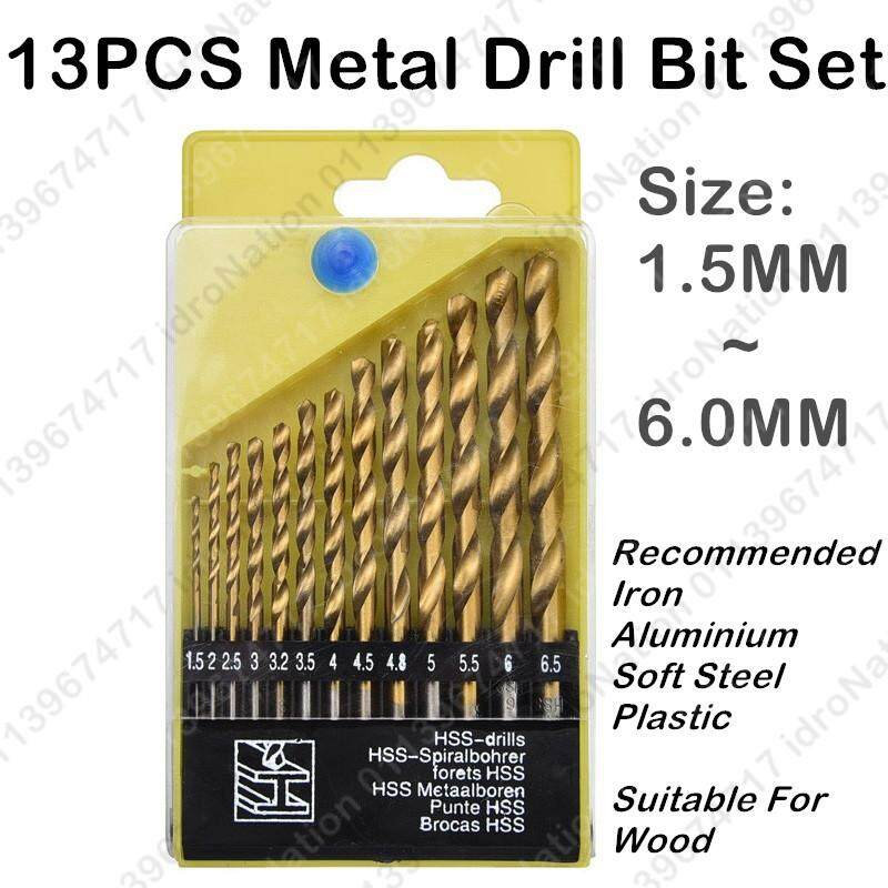 13PCS Iron Metal Soft Steel HSS Twist Drill Bit Set 1.5 ~ 6.5mm