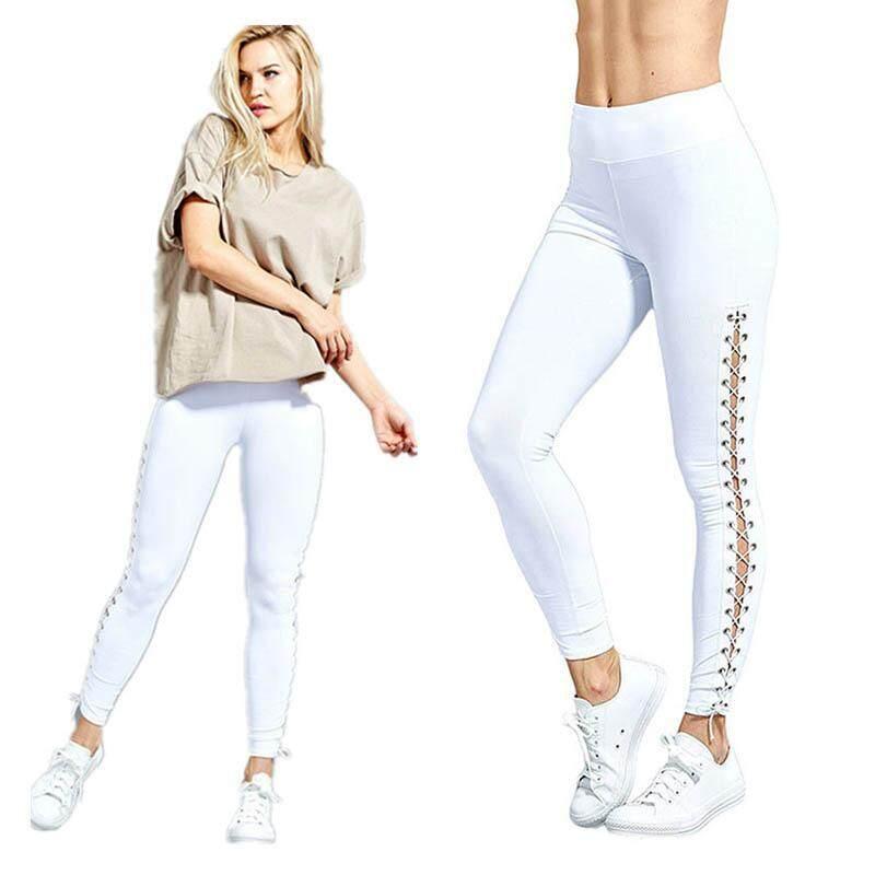 Wanita Yoga Sisi Renda Atas Celana Pensil Cross Potongan Balutan Kurus Celana Berjalan Menari Latihan Olahraga