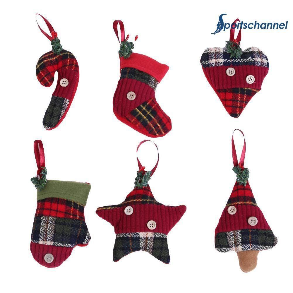 6pcs Christmas Ornaments Hanging Doorplate Pendant Xmas Stocking Christmas Tree Decoration By Sportschannel.