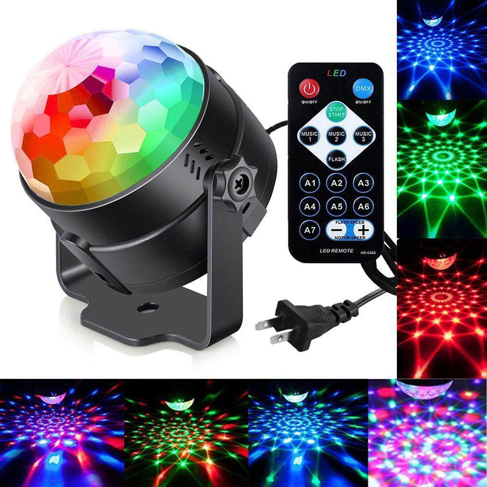 Kobwa LED Disco Ball Party Lights Ripple Light Sound Activated DJ Lights For Parties 7Colors Water Wave Ocean Projector Strobe Light For Home Stage Wedding Bar Karaoke Birthday Gift 3W (with Remote) - intl