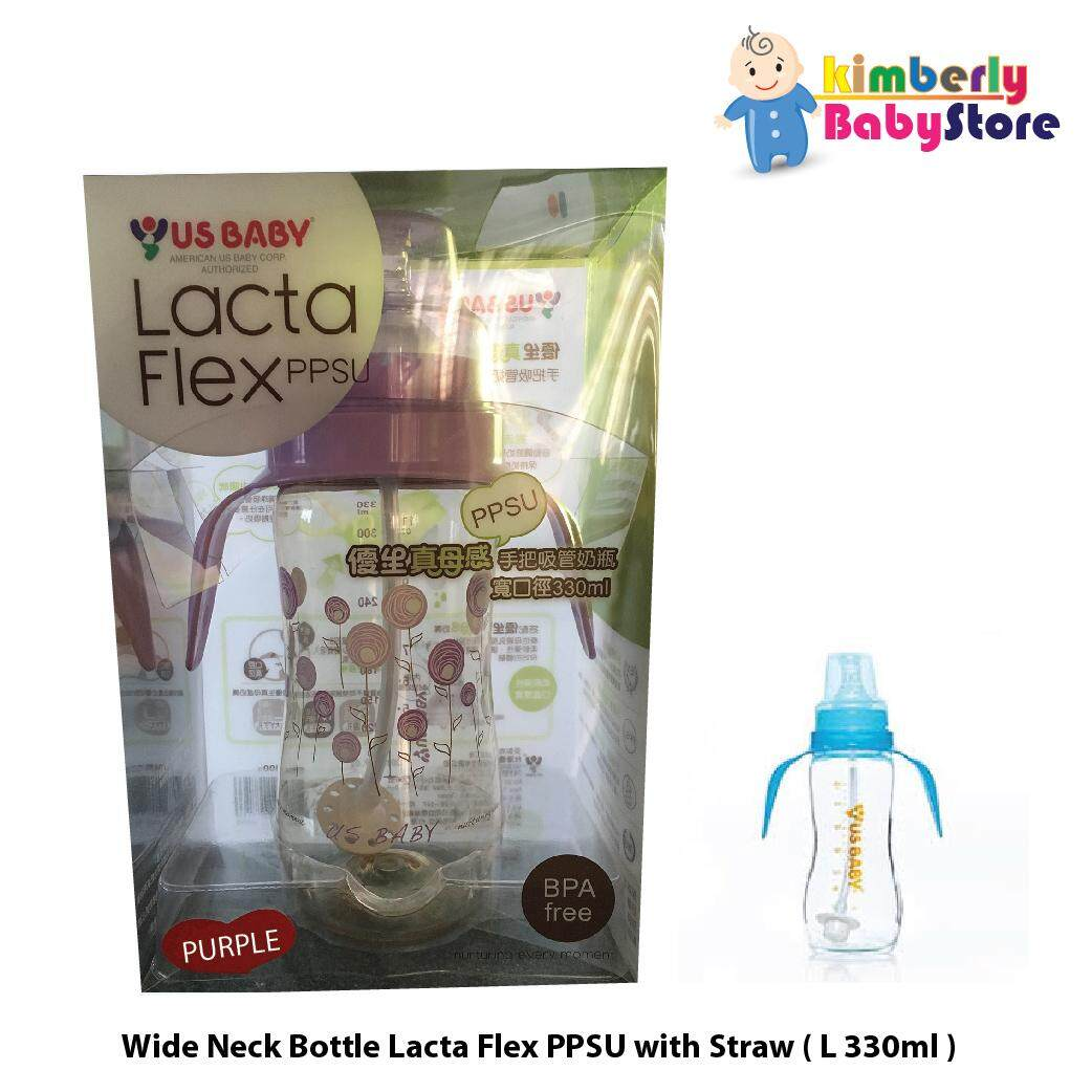 US Baby Lacta Flex Ppsu Wide Neck Bottle With Straw L330ml