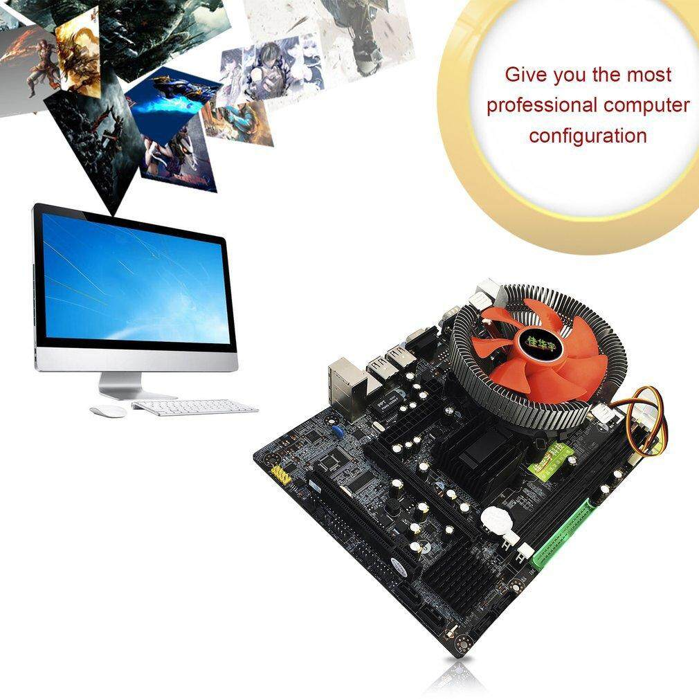 Chunnuan 945 Desktop PC Main Board LGA 775 Dual-core E5400 2.7G CPU + 2G DDR2 Memory + Mute Fan Computer Motherboard with USB VGA Ports - intl
