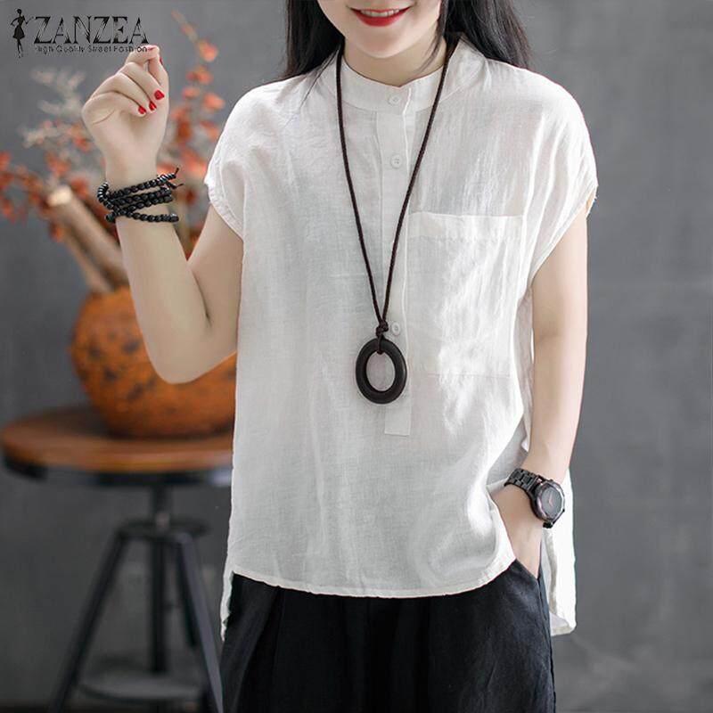 53c13183990 ZANZEA Women Button Up Basic Tee T Shirt Top Loose Plus Size Tunic Blouse