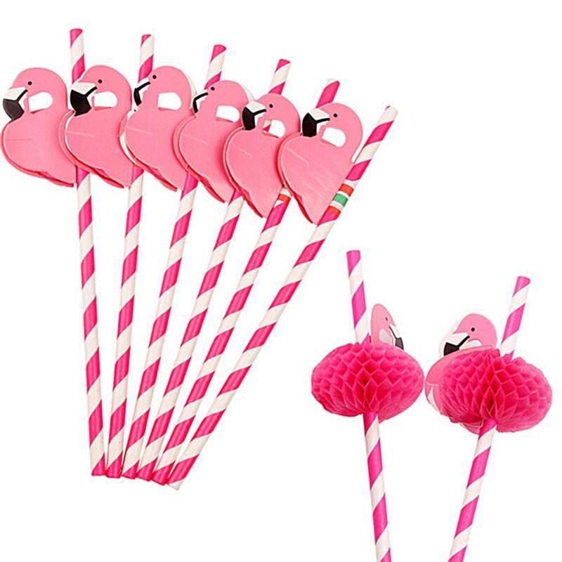 Hình ảnh 12pcs Paper Birthday Party Flamingo Honeycomb Striped Drinking Straws Chic Rose