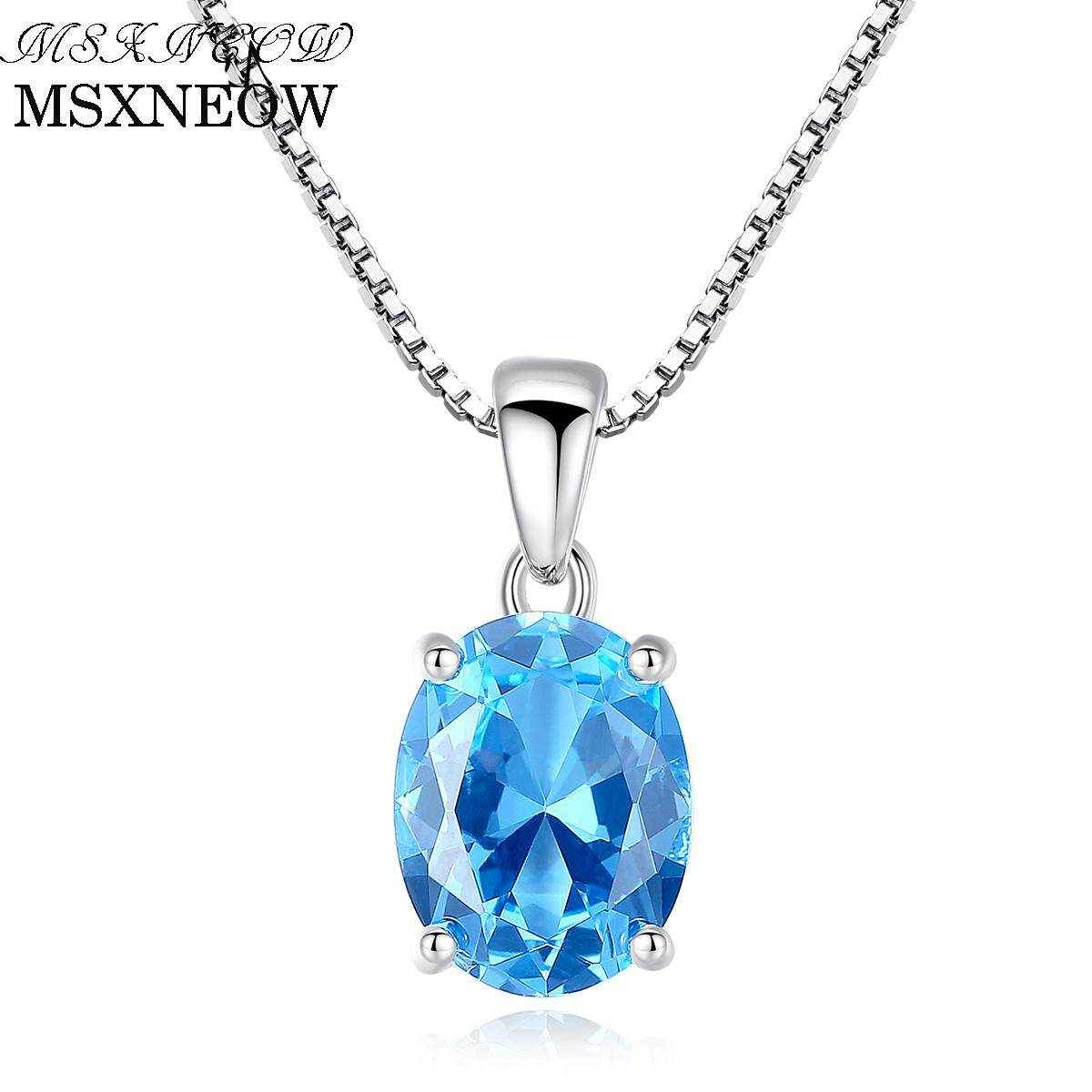 MSXNEOW 2.3 Carat Oval Shape Solitaire Natural Sky Blue Topaz Stone Pendant 925 Sterling Silver Charms Chain Necklace for Women