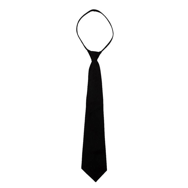 Men Solid Black Polyester Zip Up Necktie Smooth Zipper Tie By Shakeshake.
