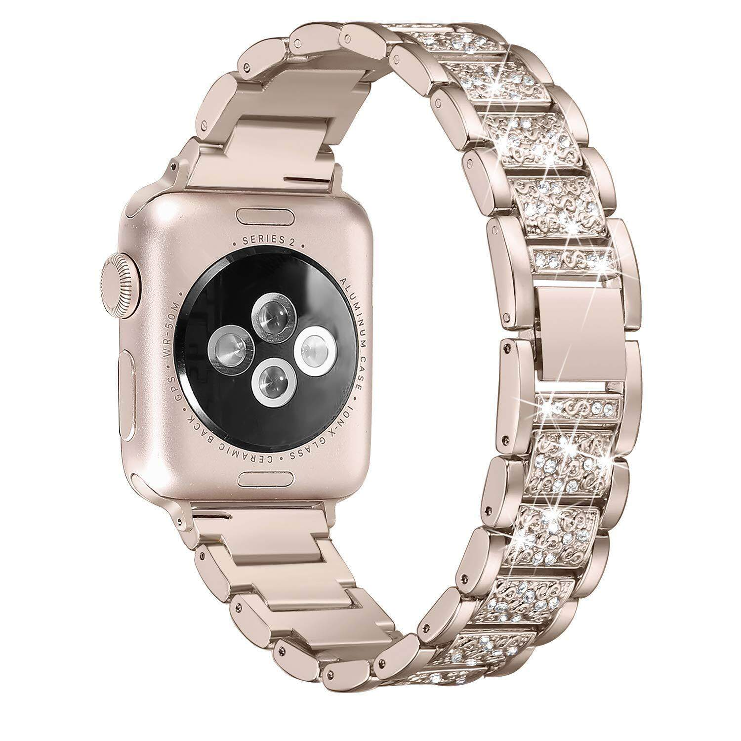 Stylish Diamonds Decor Stainless Steel Watch Band Replacement for Apple Watch Series 3/2/1 42mm