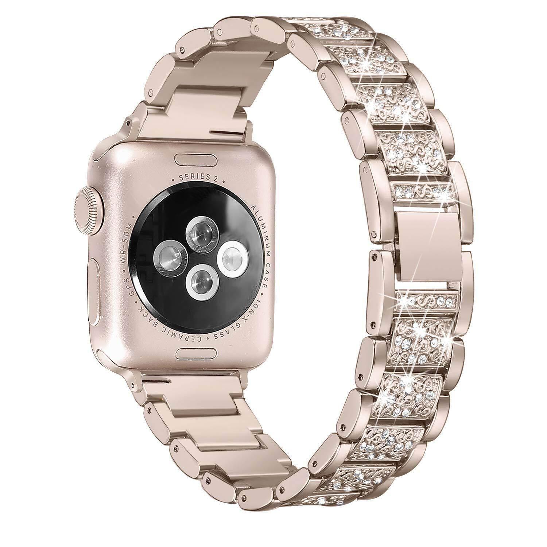 Mewah Dekorasi Berlian Imitasi Baja Anti Karat Gelang Jam Tali untuk Apple Watch Seri 4 40 Mm/Seri