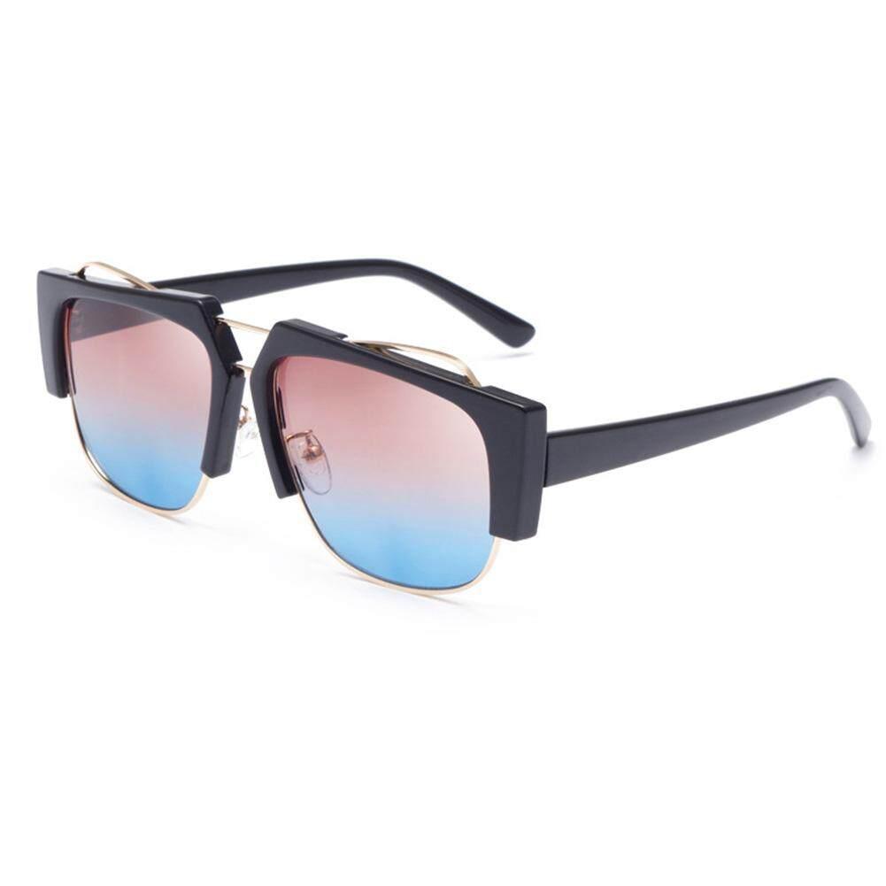 Qimiao Fashion UV400 Kacamata Mewah Fashion Gaya Antik Kacamata Warna: Hitam Bingkai Teh Lensa Biru