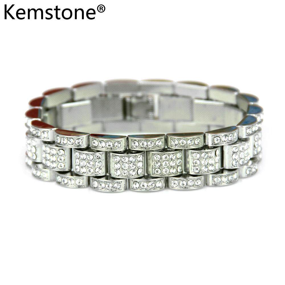 Kemstone Gold/Silver Exquisite Rhinestone 15MM Classic Watch Chain Simple Bracelet Jewelry for Men Hip