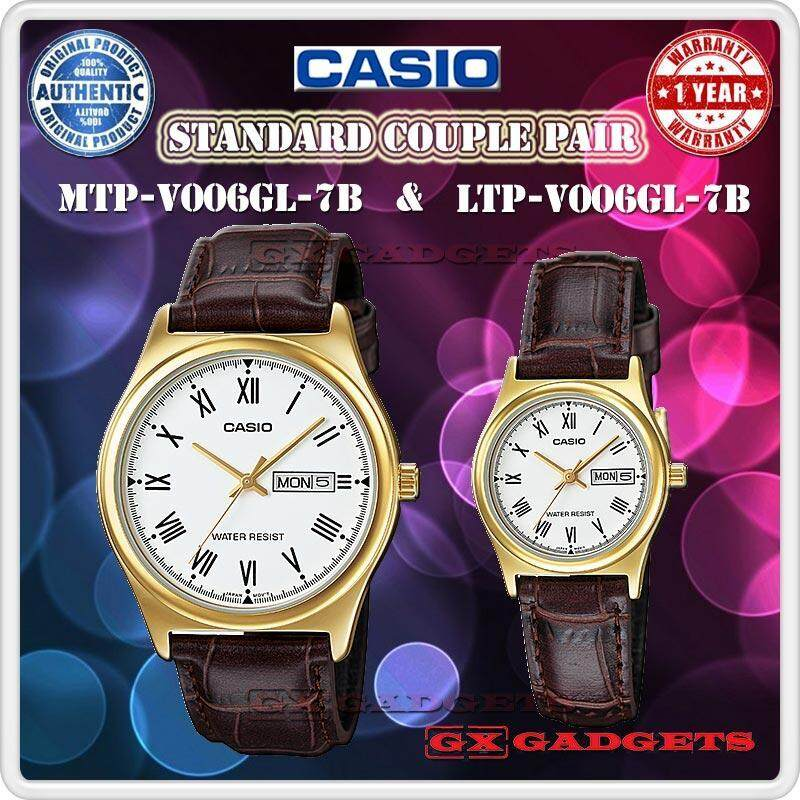 CASIO MTP-V006GL-7B + LTP-V006GL-7B STANDARD Analog Couple Pair Watch Day Date Leather Band Gold Case Water Resistant MTP-V006 LTP-V006 V006 Series Malaysia