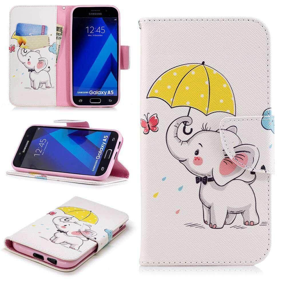 Case untuk Samsung Galaxy A5 2017 A520 Desain Kreatif Dicat Berdiri Flip PU Dompet Kulit Case