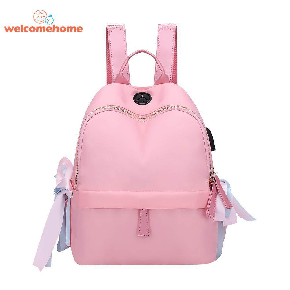 Women Fashion Silk Usb Charge Nylon Backpacks Travel Casual Shoulder School Handbag By Welcomehome.