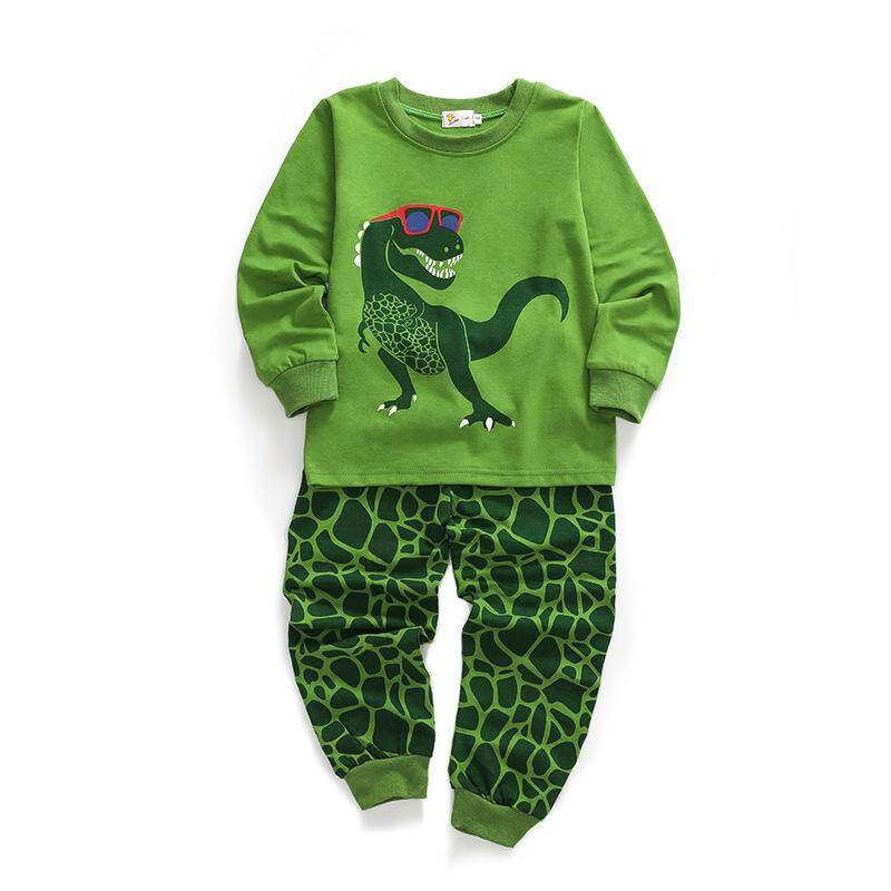Boys Pyjamas Dinosaur Nightwear Cotton Toddler Clothes Kids Sleepwear Winter Long Sleeve Pjs Sets 2 Piece Outfit Age 1-7 Years By Sawu.