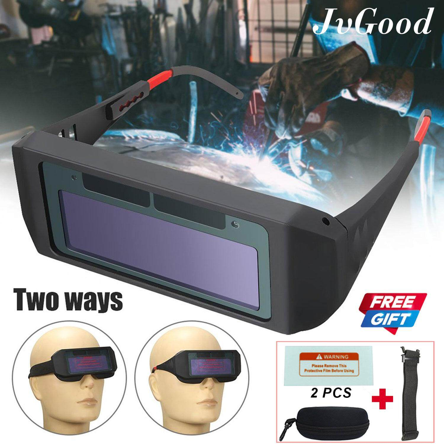 JvGood Solar Powered Safety Goggles Welding Glasses Eye Protection Glasses Eyes Goggles Welder Glasses Auto Darkening Welding Eyewear with Free Gift