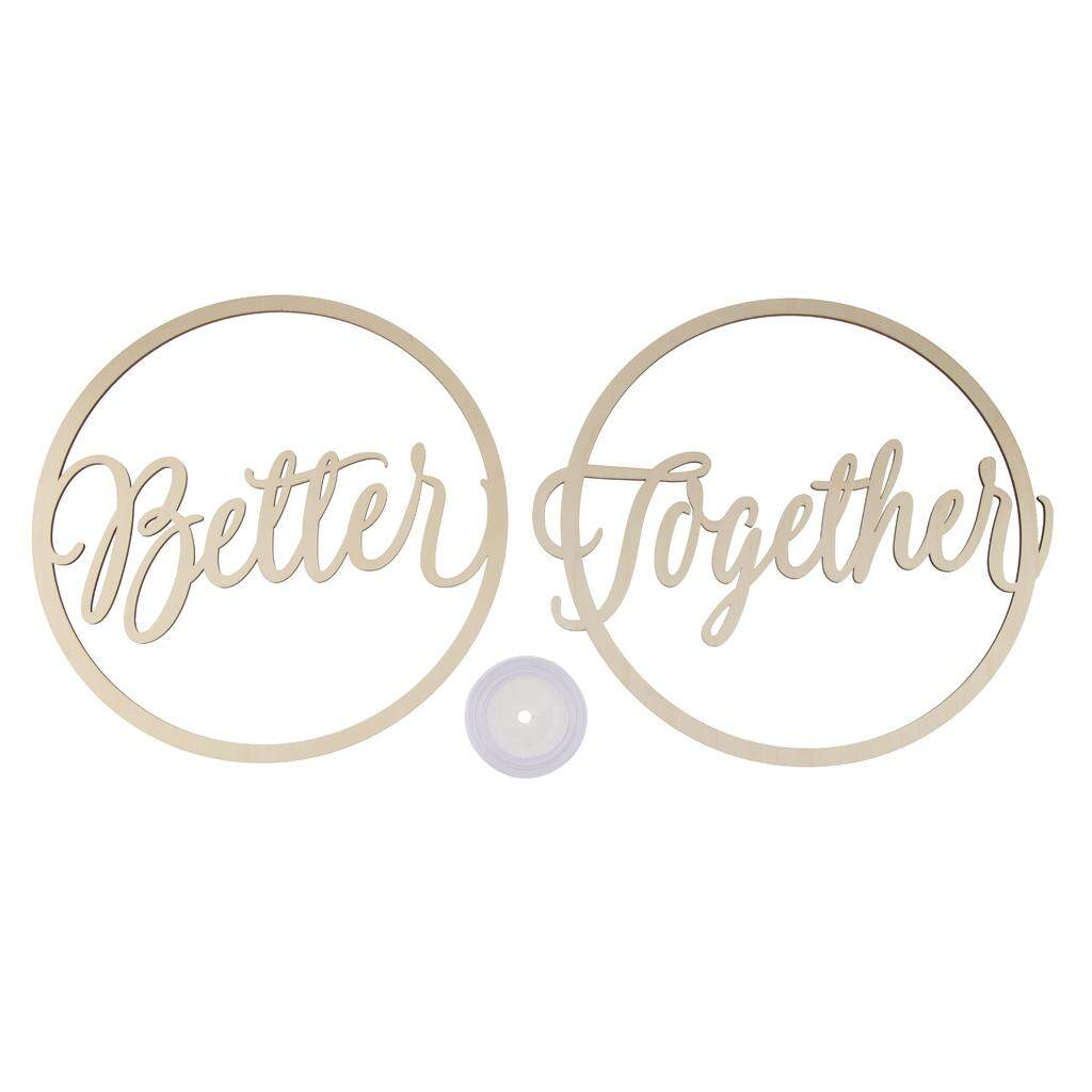 GuangquanStrade 2pcs Round Better Together Phrase Wooden Decor