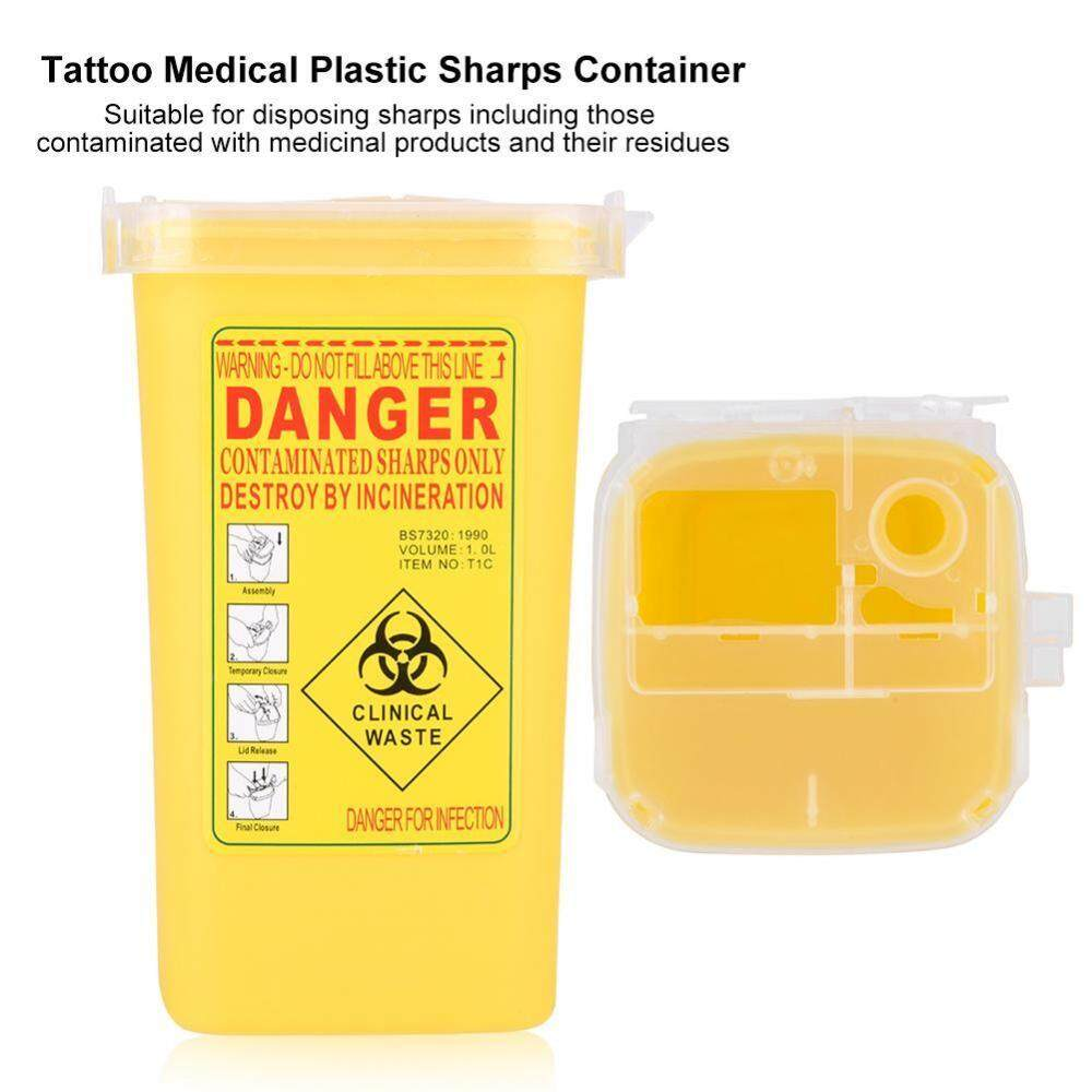 Tato Plastik Medis SHARP Container Biohazard Jarum Pembuangan 1L Limbah Ukuran Kotak Kuning-Internasional