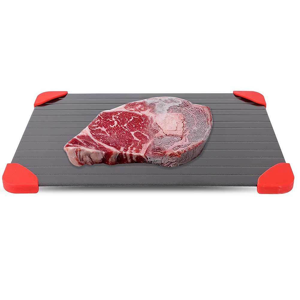 Aluminum Speedy Defrost Tray with Red Silicone Protective Cover Kitchen Tool Specification:23*16.5*0.2cm - intl