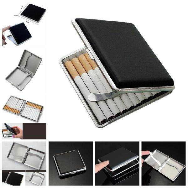 Classic Leather & Alloy Case Box Metal Holder Container For Lighter Black