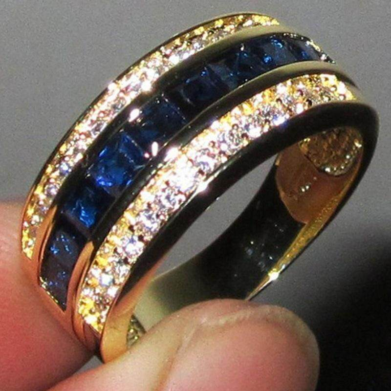 Sys Classic 18k Yellow Gold Filled Blue Sapphire Square Diamond Finger Rings Size 6-11 By Saiyousun.