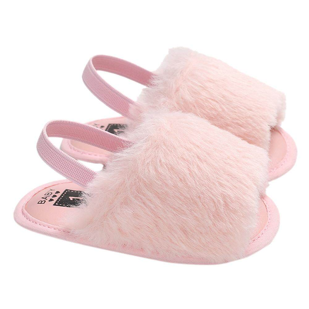 Baby Girls Faux Fur Slide Sandal Fluffy Slippers With Back Strap Soft Sole Non-Slip