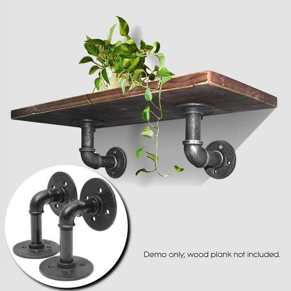 2x Industrial Pipe Shelf Brackets Bookcases Holder for Steampunk Rustic Decor