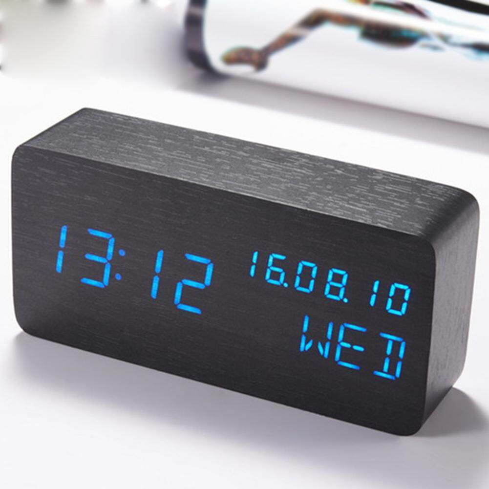 Electronic Decor Cube Unique Multifunction Silent Wooden Voice Control UV Desk Table Clock Watch Alarm Clock