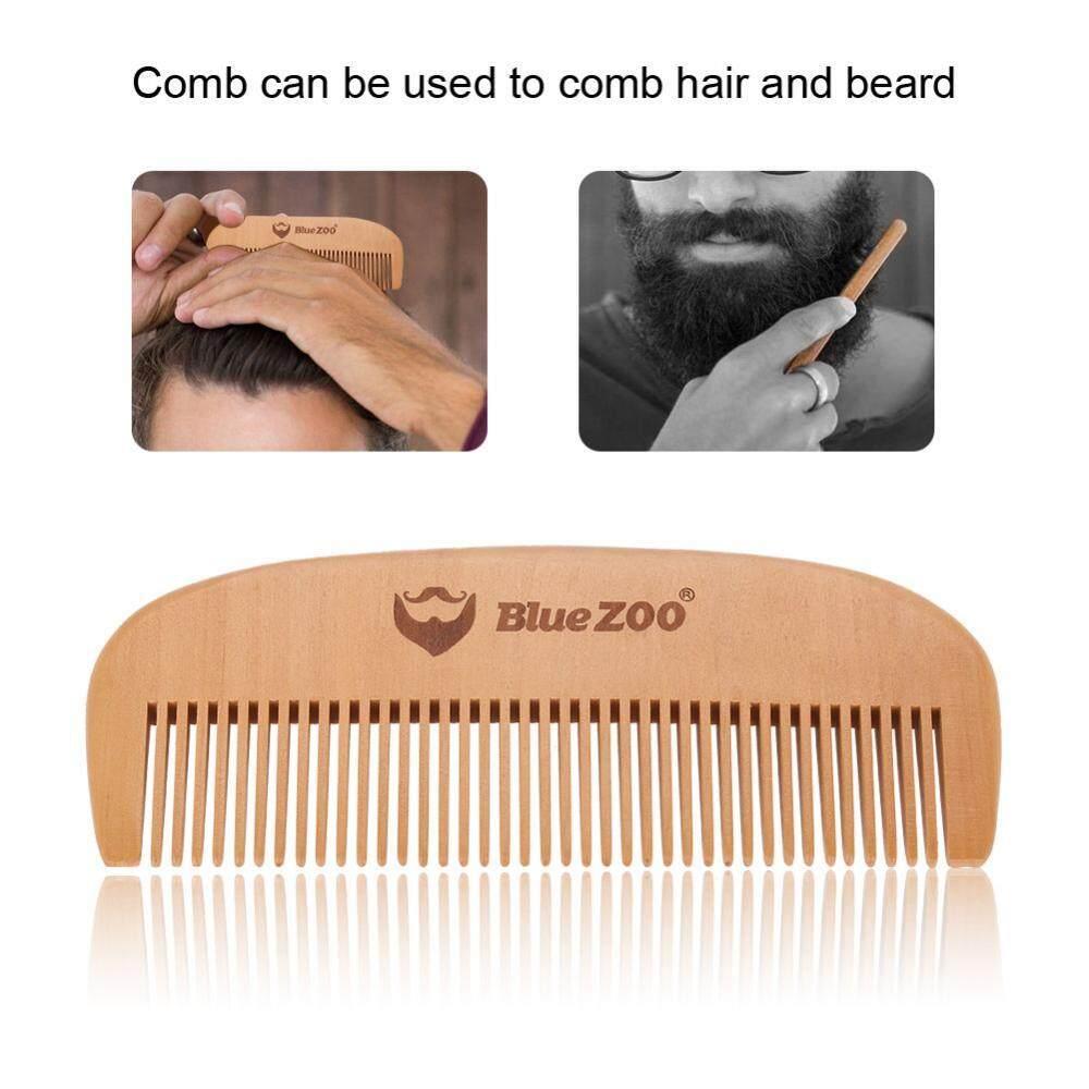Portable Mens Beard Wooden Comb Kit Mustache Hair Care Brush Shape Tools - intl
