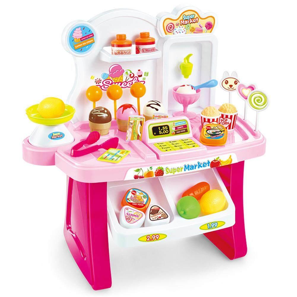 Hình ảnh Big House 34pcs/set Children Multifunctional Toy Simulation Mini Supermarket Cashier Vendor Stall Play House Music Toys