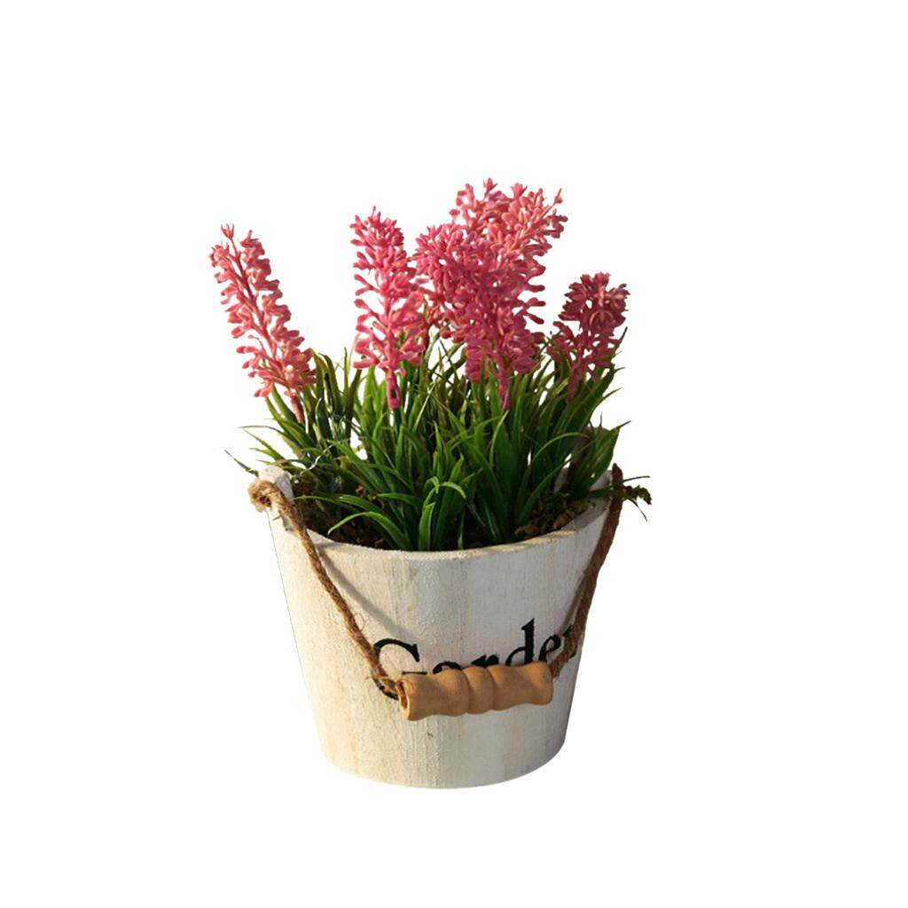 Fityle Assorted Artificial Potted Lavender Flower Plants White Pot Pink Flower