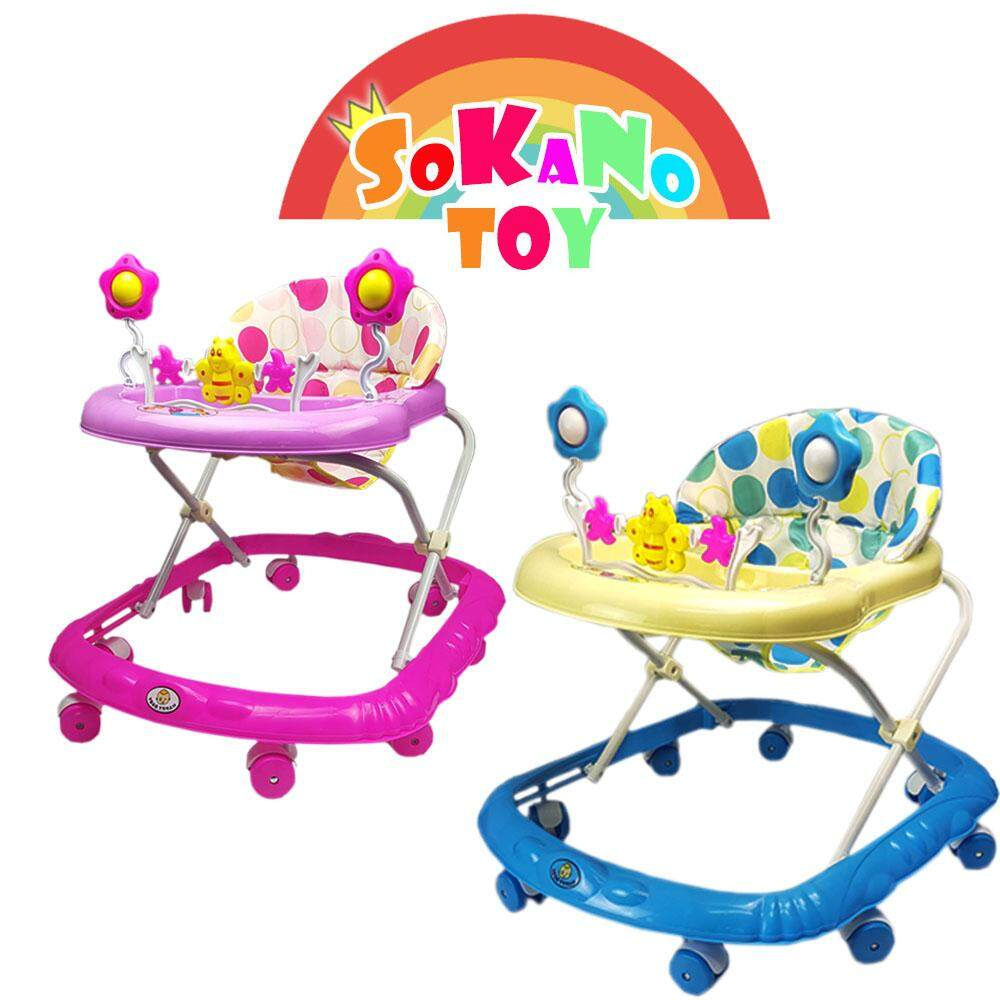 (RAYA 2019) SOKANO Toddler and Baby Ride-on Toy with Music Foldable Adjustable Baby Walker - Pink