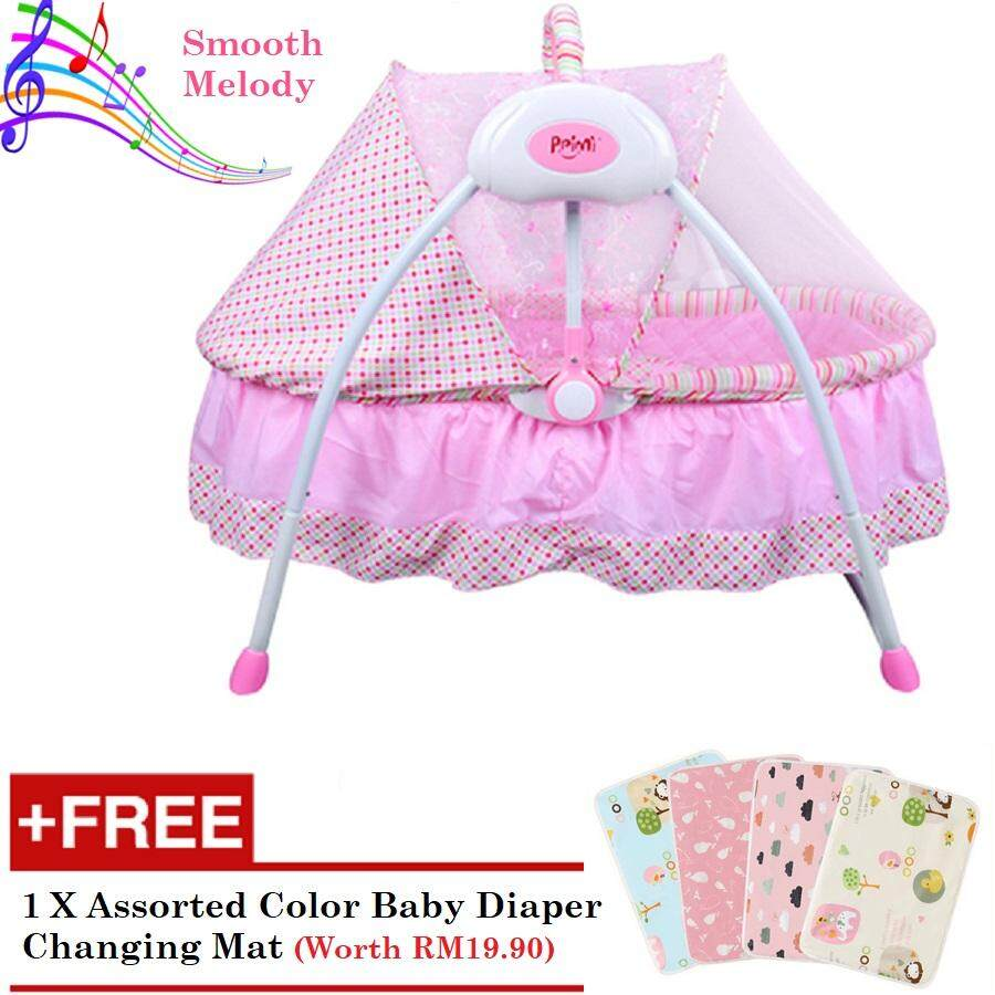 Baby A Smart Automatic Glider Swing Bassinet Cradle With Mosquitoes Net - Blush Pink By Baby A.