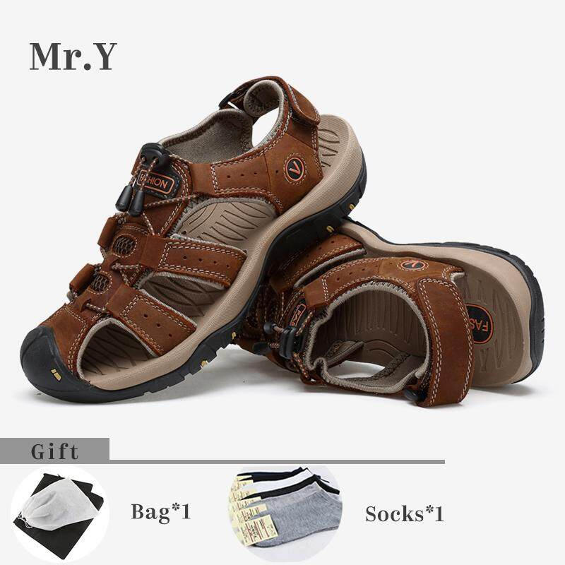 Mr.y Sport Sandals Genuine Leather Hiking Shoes Summer Shoes Men Slippers Casual Beach Kasut Lelaki (brown,khaki) By Mr.y.