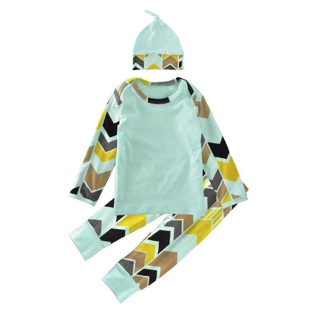Perempuan Bayi Anak-anak Pakaian Anak Laki-laki Lengan Panjang Panah Kemeja Atasan + Celana Set Pakaian Ikat Kepala 100-Intl