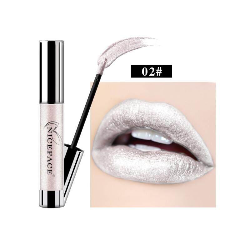 Lissng NICEFACE Non-stick Cangkir Tidak Pudar Logam Pelembap Bibir Melembapkan Tahan Lama Lipstick Cair Yang Unik Shinning & Kelembaban Formula Pelembap Bibir 2 #