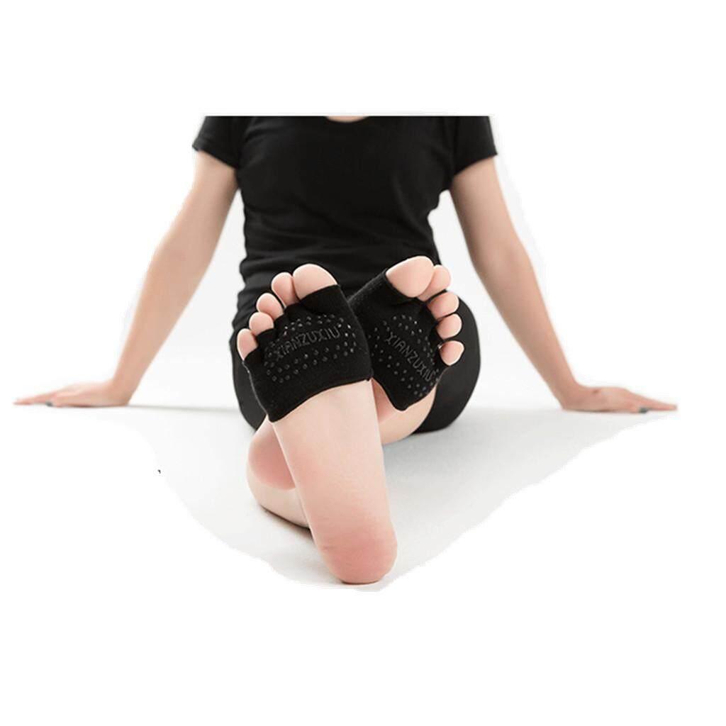 Keajaiban Bersinar Olahraga Pijat Kebugaran Non-slip Separuh Jari Yoga Pilates Kaus Kaki 5 Jari