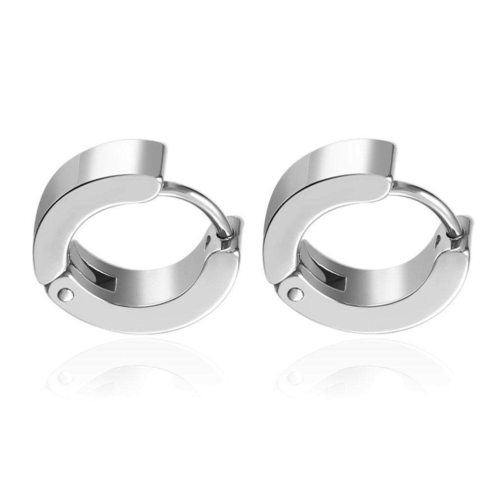 0bdf4fd04 Befu Unique Pretty Cool Mens Stainless Steel Hoop Piercing Ear Earring Studs