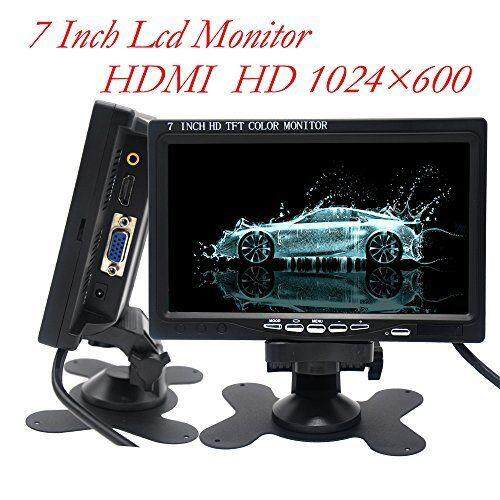 QNSTAR 7 Inch HD LED Touch Button Display 1024X600 AV/VGA/HDMI Monitor with Speaker