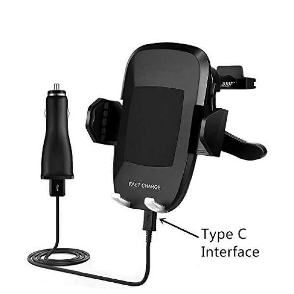 Wireless Charger Car Mounted, Wireless Charging Phone Holder for iPhone X/8/8 Plus, Fast Charge Phone Holder for Samsung Galaxy S8 S8 Plus S7 S7 Edge S6 Edge plus Note 5 With Car Charger