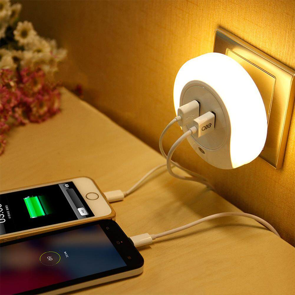 Creative Smart Household Light Sensor LED Charger with Double USB Interface Night Light Specification:US regulations