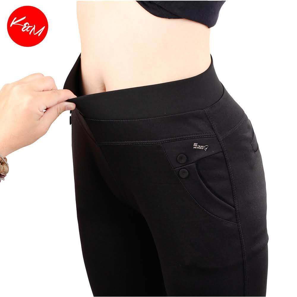 KM Women Black Elastic Trouser [M12147]
