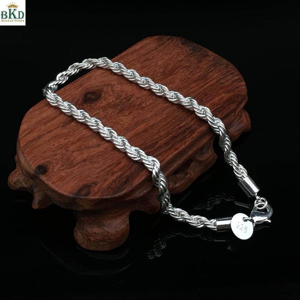 Bokeda Store Twisted Rope Silver Hand Chain Bangle Bracelet Elegant Jewelry By Bokeda Store.