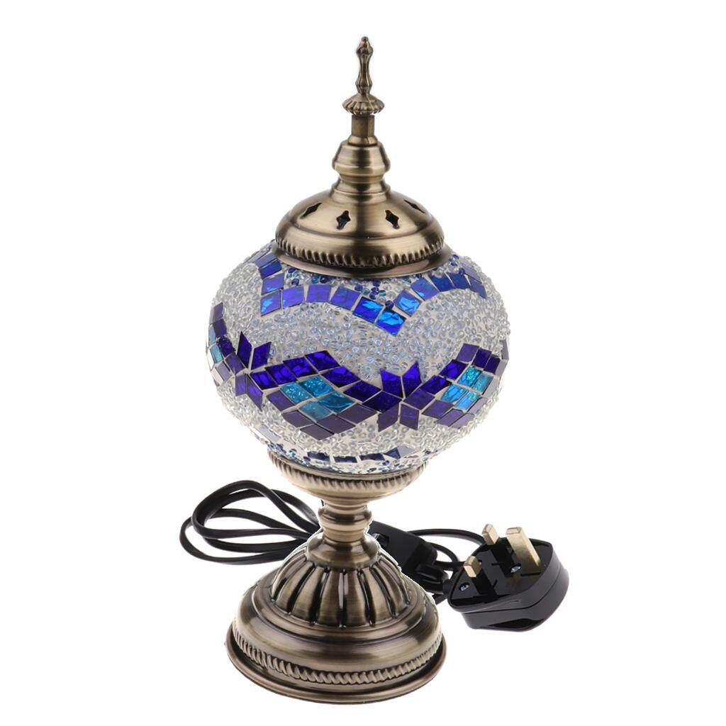 BolehDeals Handmade Turkish Mosaic Glass Table Desk Bedside Lamp Light UK plug Blue
